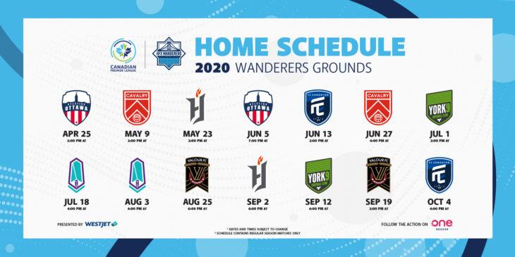 The Wanderers 2020 home schedule.