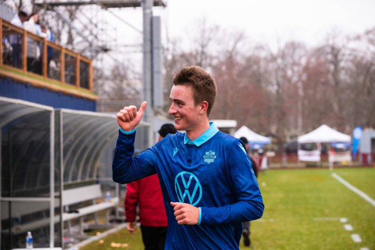 Scott Firth celebrating the Wanderers first ever win in last season's home opener against Forge FC on May 4, 2019. Photo: Trevor MacMillan.
