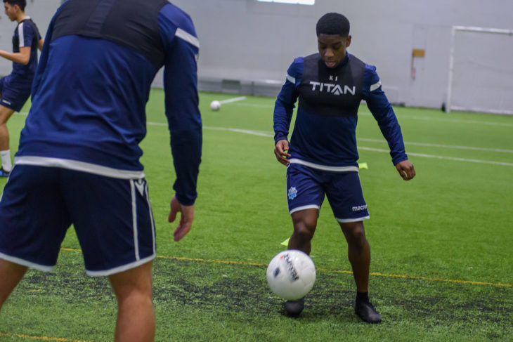 Bent on the ball before training camp was put on hold. Photo: Scott Thieu.
