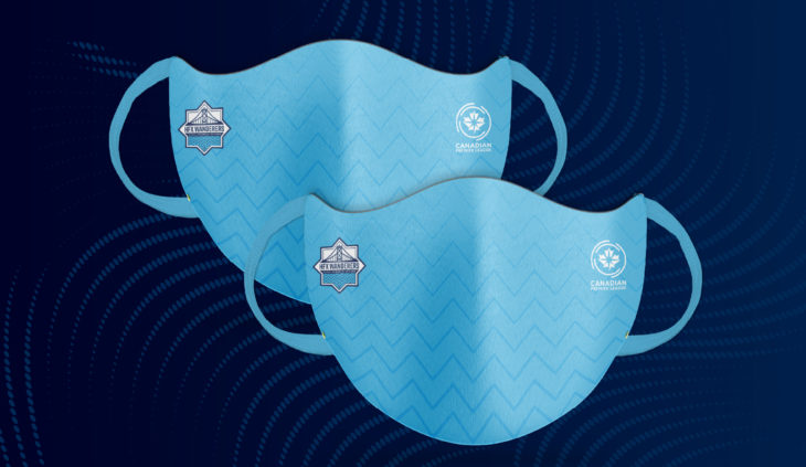 The masks feature the Wanderers and Canadian Premier League logos with waves in the design.