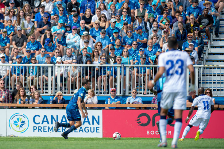 Alex De Carolis in one of his signature runs up the left wing at a packed Wanderers Grounds against FC Edmonton last September. Photo: Trevor MacMillan.