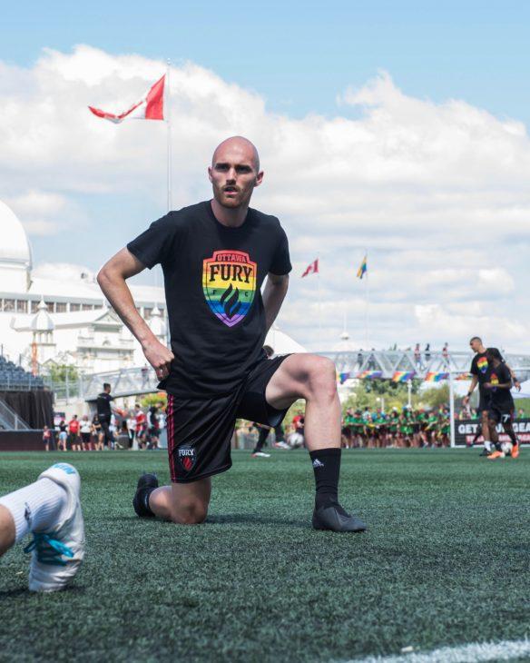 Jeremy Gagnon-Laparé warming up for Ottawa Fury FC.