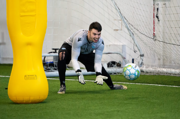 Christian Oxner all smiles at HFX Wanderers FC Training Session (Trevor MacMillan)