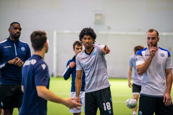 Andre Rampersad & Peter Schaale at HFX Wanderers FC Training Session. (Trevor MacMillan)