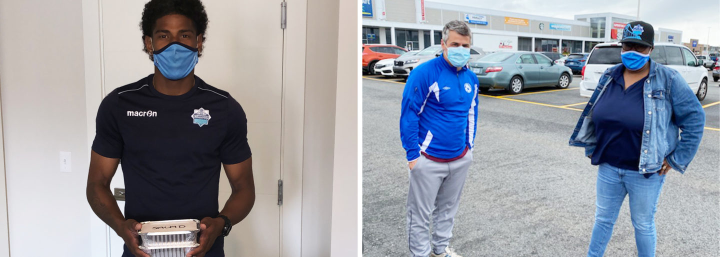Left: Andre Rampersad receiving his home made meal. Right: Missy dropping off the food with Wanderers Assistant Coach, Mesut Mert. (Chris Searl)