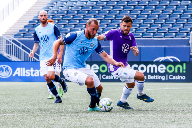 June 26, 2021. Pacific FC vs. HFX Wanderers. First-Half. Peter Schaale and Marco Bustos battle for the ball