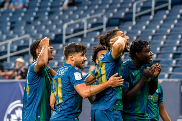 July 7, 2021. York United FC vs Valour FC. First-Half. York United FC players react to fans after scoring a first-half goal.